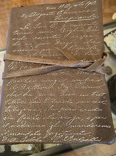 Italian Leather Wrap Journal Pewter Grey