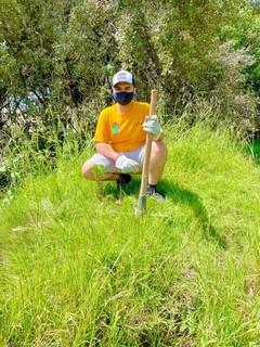 Brian Ortiz plants tree - Tlaxcala reforestation