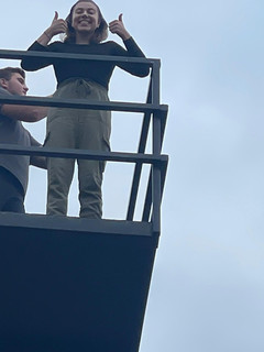 Annie atop water tower