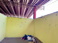 A shelter to sleep for refugee migrant workers