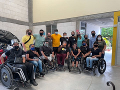 Our team with the amazing Jazz My Chair team of wheelchair mechanics