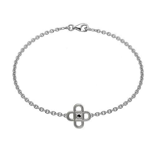 Bracelet chaine cross pastille 16 argent