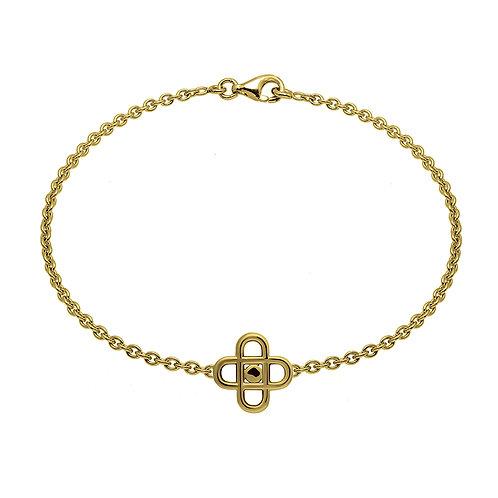 Bracelet chaine cross pastille 16 or