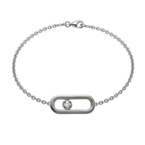 Bracelet chaîne CLASSIQUE A PM diamant argent
