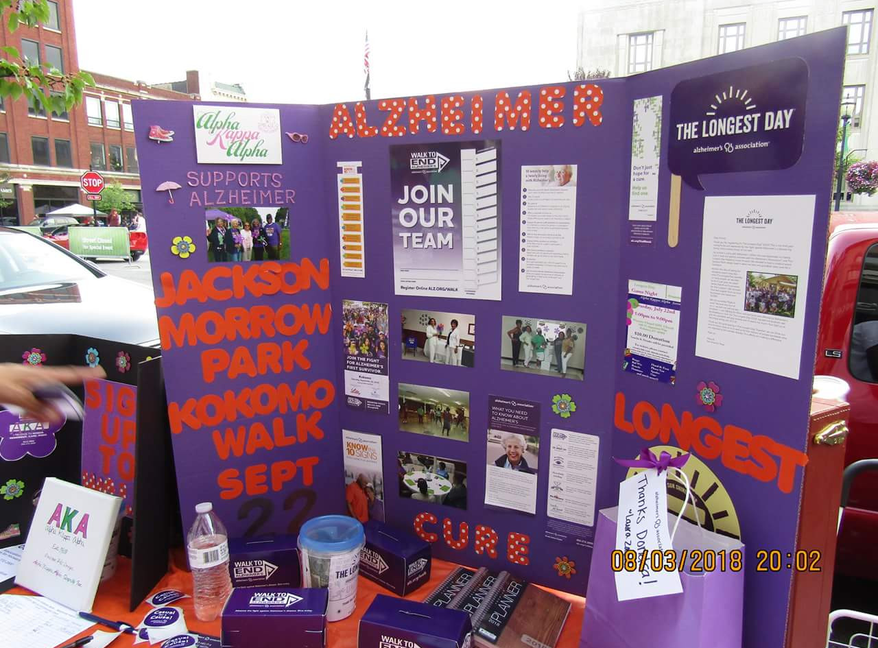 Pretty and Informative. Our table promoting Alzheimers Awareness and The Longest Day.