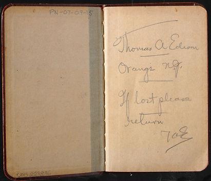 Thomas Edison's Early Notebook