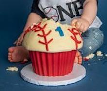 baseball cupcake Smash Cake
