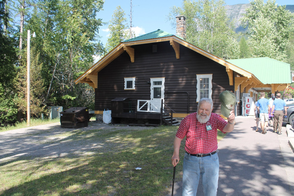 Showing off where he worked in Glacier National Park