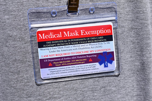 Masks/Vaccination Exemption Cards w/ Lanyard