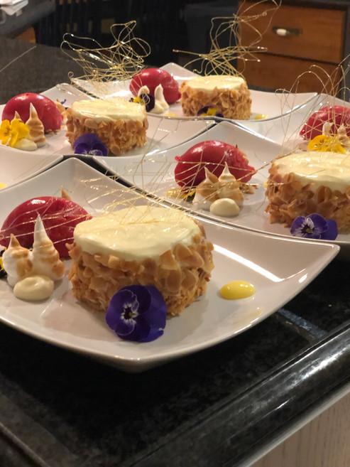 Flourless Lemon Almond Cake with Raspberry Sorbet