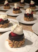 Decadent Flourless Chocolate Cake, <Macerated Strawberries, Chantilly Cream & Spun Sugar