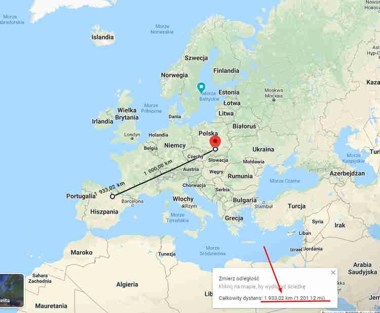 Odległość z Krakowa do Hiszpanii