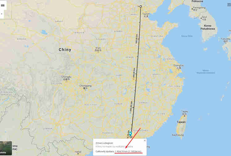 Odległość z Pekinu do Guangzhou