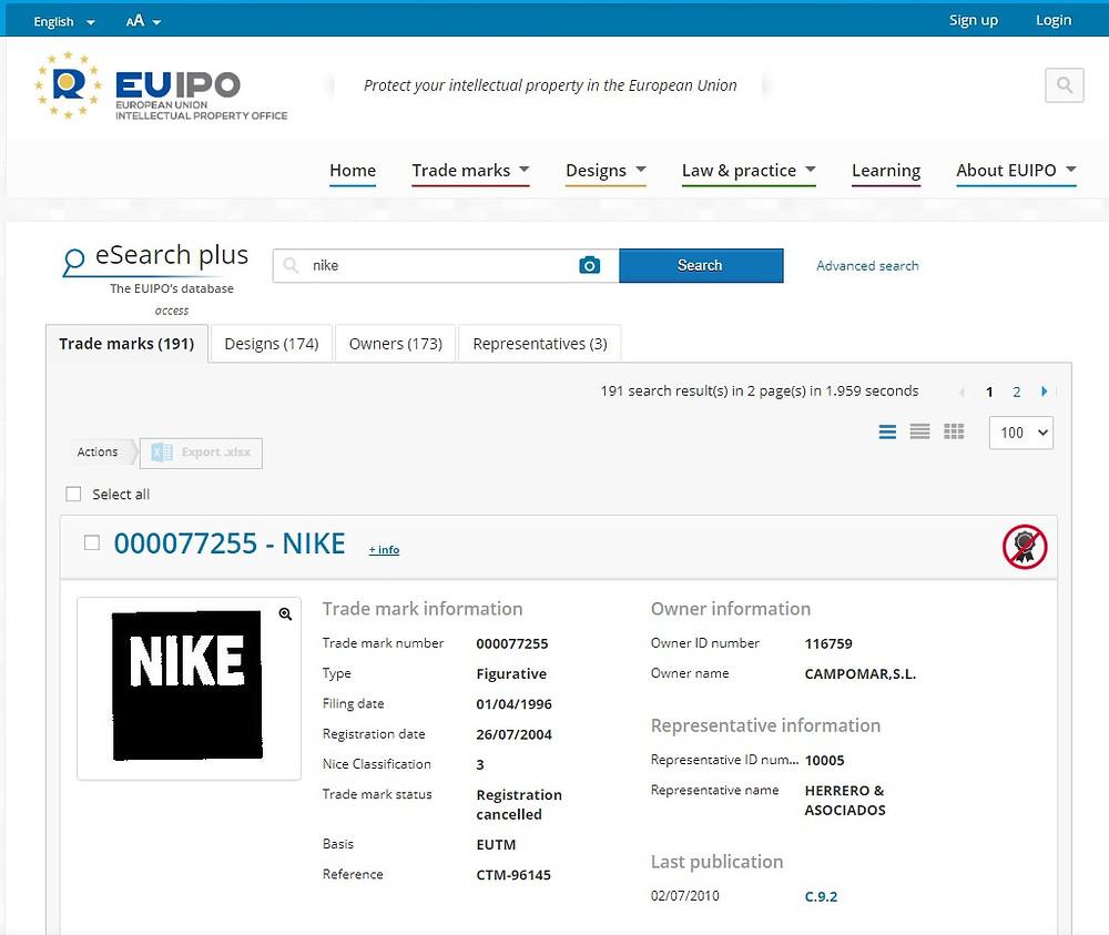 eSearch na stronie euipo pozwala zweryfikować dane logo/markę/produkt