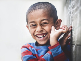 A boy named HAPPY