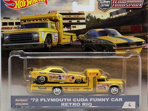 HW Team Transport #4 '72 Plymouth Cuda Funny Car (Snake) Retro Rig