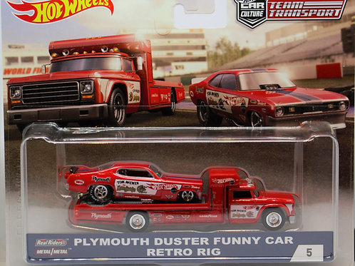 HW Team Transport #5 Plymouth Duster Funny Car (Mongoose) Retro Rig