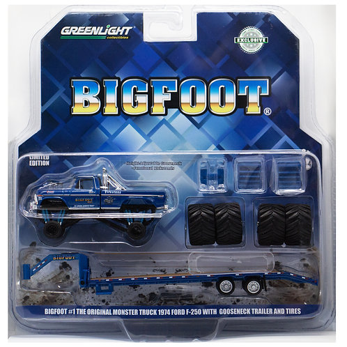 GL Bigfoot Monster Truck 1974 Ford F-250 with Gooseneck Trailer and Tires