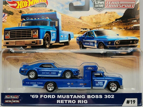 HW Team Transport #19 '69 Ford Mustang Boss 302, Retro Rig, Ford Race Team