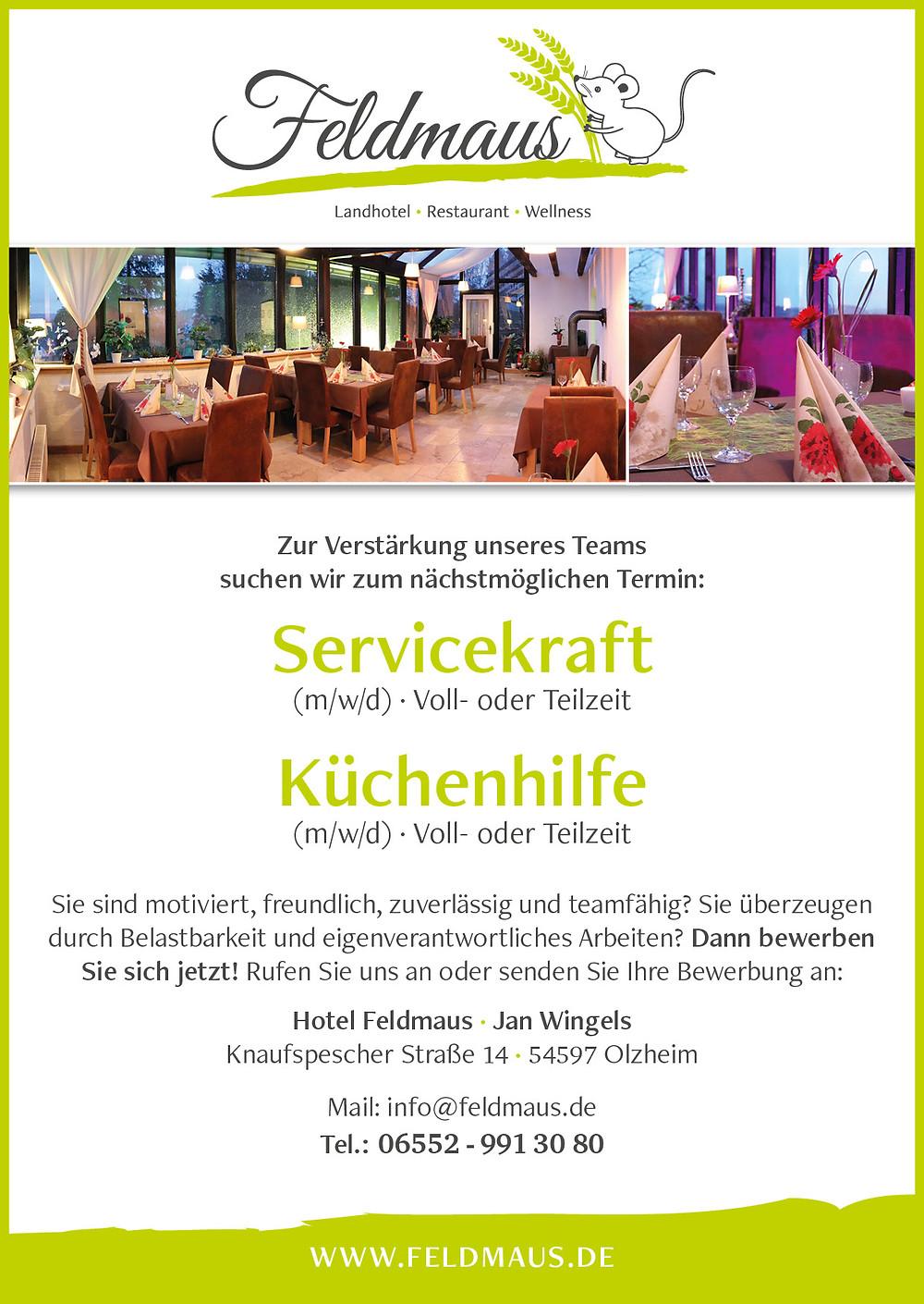 Stellenanzeige Hotel Feldmaus Servicekraft Küchenhilfe Eifel