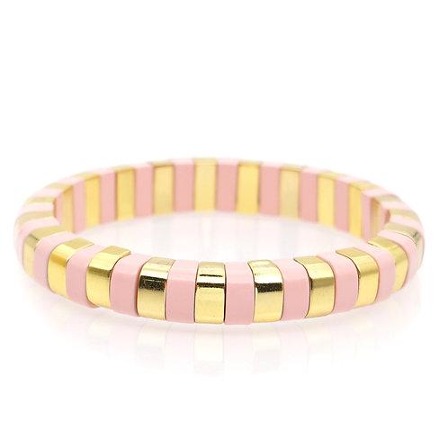 Pink & Gold Enamel Stretch Bracelet