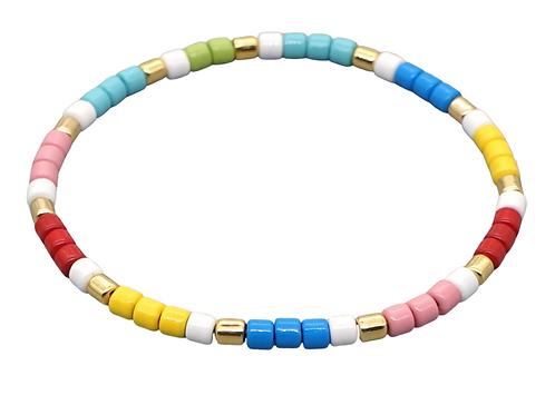 Multi Coloured Enamel Stretch Bracelet
