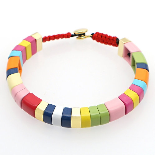 Rainbow enamel bead bracelet
