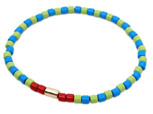 Blue and Lime Enamel Stretch Bracelet