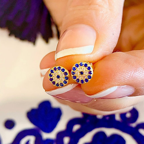 Evil Eye Round Earrings