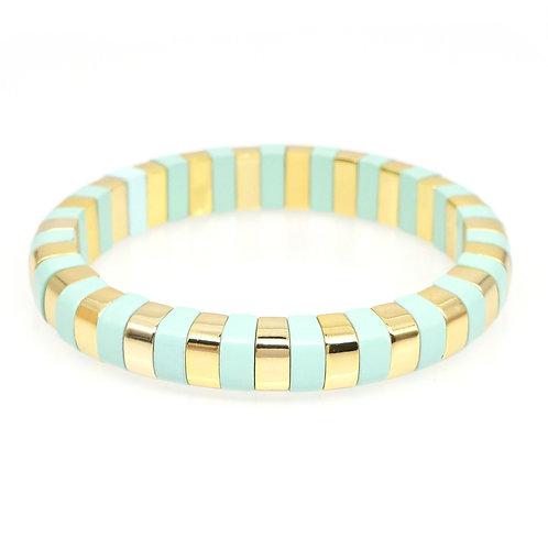 Mint & Gold Enamel Stretch Bracelet