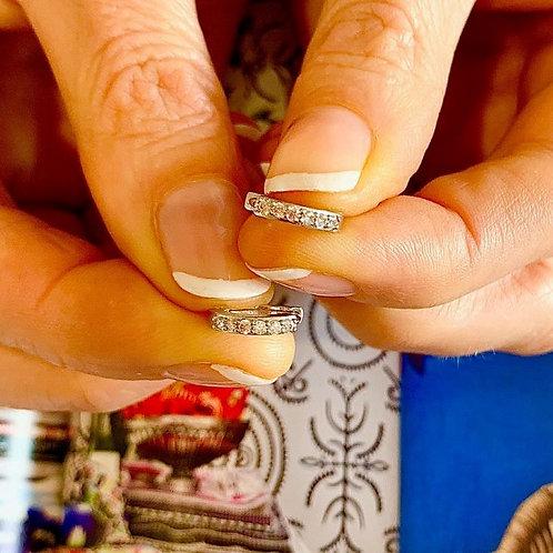 'Diamond' Zircon Micro Hoop - Silverr