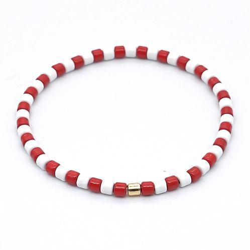 Red & White Enamel Stretch Bracelet