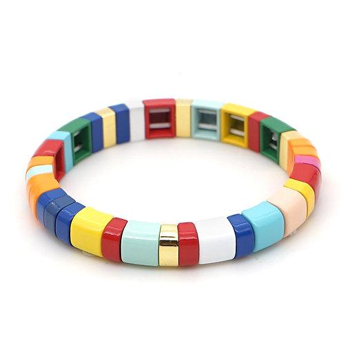 Rainbow #2 enamel bead bracelet