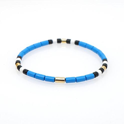 Royal blue with white and black Enamel Stretch Bracelet
