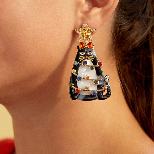 Christmas Cat Earrings