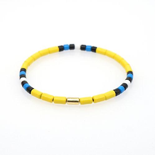 Yellow with black blue & white Enamel Stretch Bracelet