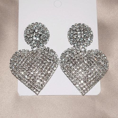 Silver Glam Heart Earrings