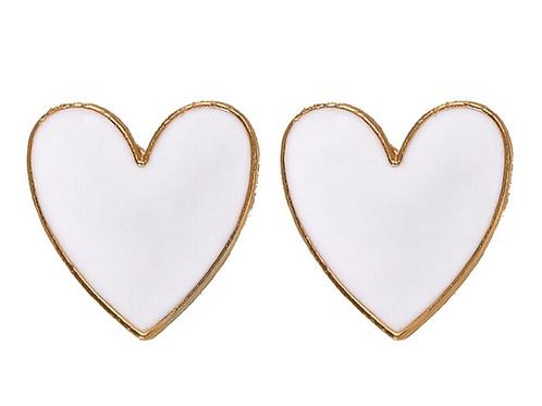 I Heart You - White Earrings