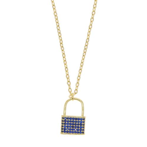 Lock Necklace - Blue