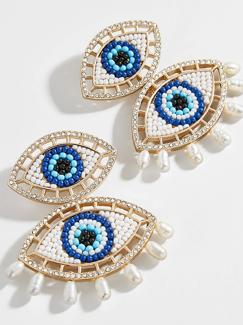 Evil Eye & Pearl Earrings