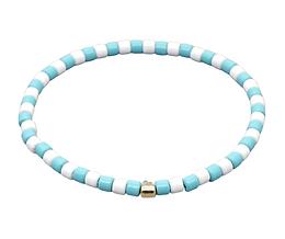Baby Blue & White Enamel Stretch Bracelet
