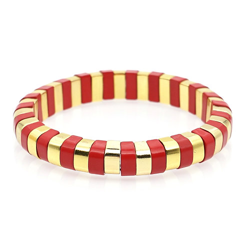 Red & Gold Enamel Stretch Bracelet