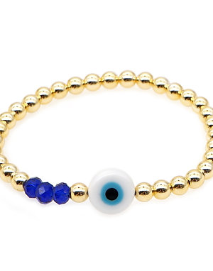 Evil Eye Gold Stretch Bracelet
