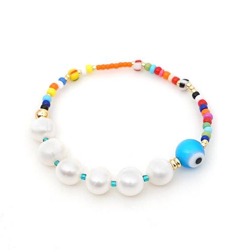 Pearl & Evil Eye Bracelet