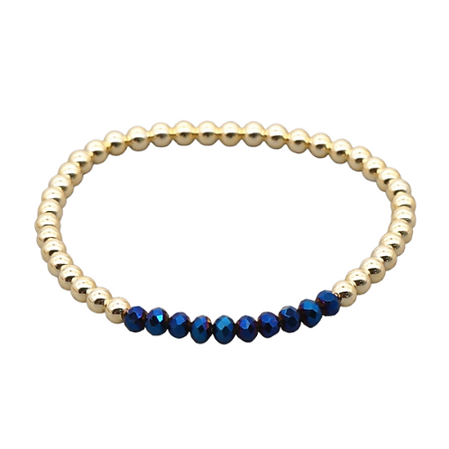 Blue & Gold Stretch Bracelet