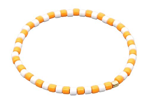 Orange & White Enamel Stretch Bracelet