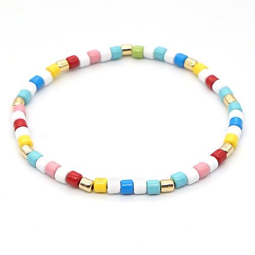 Multi Coloured #2 Enamel Stretch Bracelet
