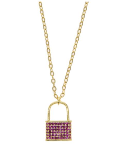 Lock Necklace - Pink