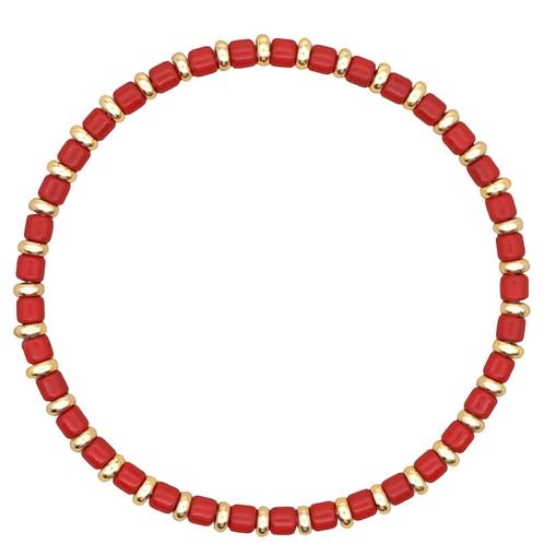 Red Enamel Stretch Bracelet