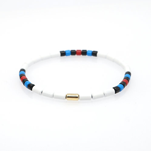 White with blue black and red Enamel Stretch Bracelet